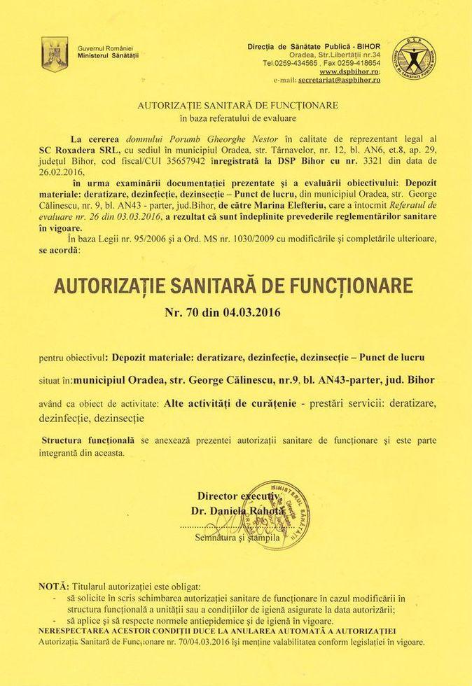 Deratizare Oradea - Autorizatie sanitara de functionare