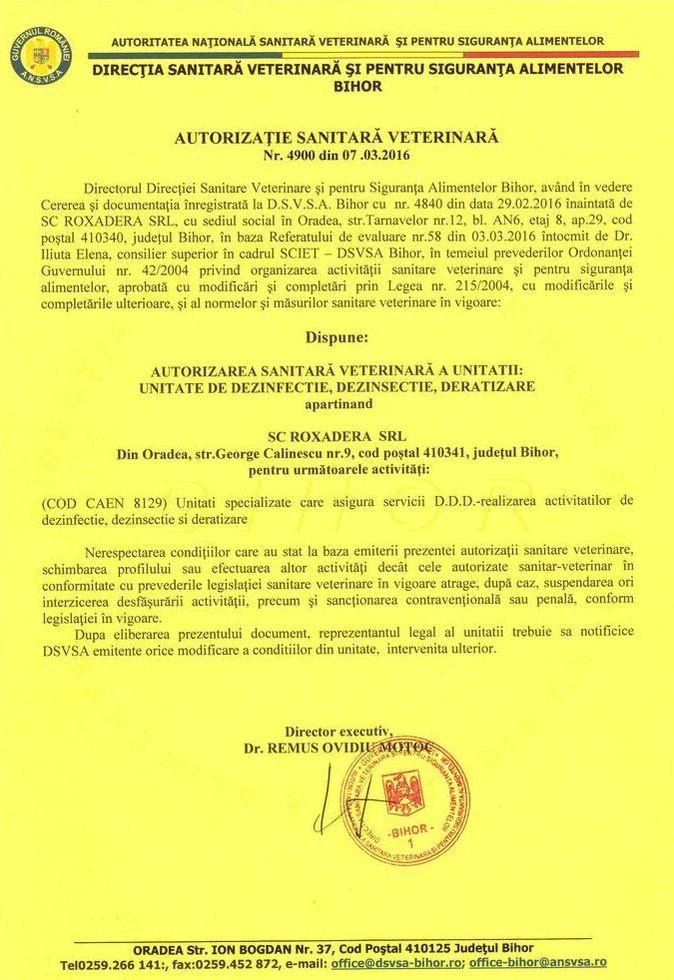 Deratizare Oradea - Autorizatie sanitara veterinara